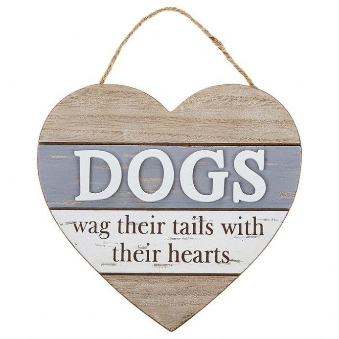 Boardwalk Wooden Dogs Heart Plaque
